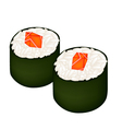 Salmon Sushi Roll or Salmon Maki Isolated on White vector image
