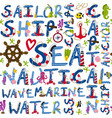 seamless pattern nautical words vector image vector image