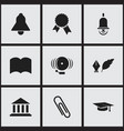 set of 9 editable university icons includes vector image vector image
