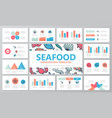 set of fish and sea food elements for multipurpose vector image