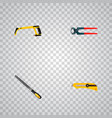 set of instruments realistic symbols with hacksaw vector image