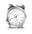 silver retro alarm clock isolated on white