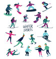 skating skiing and snowboarding people icons vector image