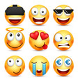 smiley set with 3d glassessmiling emoticon vector image