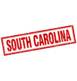 South Carolina red square grunge stamp on white vector image vector image
