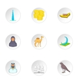 State of UAE icons set cartoon style vector image vector image