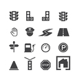 traffic icon set vector image vector image