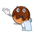 waiter chocolate donut mascot cartoon vector image vector image
