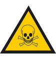 warning sign with skull symbol vector image vector image