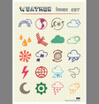 Weather web icons set drawn by color pencils vector image vector image