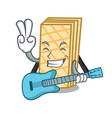with guitar waffle mascot cartoon style vector image vector image