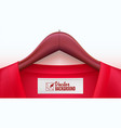 wooden clothes hangers with red t-shirt and tag on vector image vector image