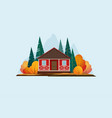 wooden house in forest vector image vector image