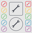wrench icon sign symbol on the Round and square vector image