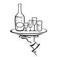 Waiter Hand Holds Wine Tray vector image