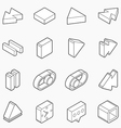 Isometric outline icons 3D pictograms vector image