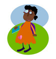 afroamerican student girl with a book outdoor in vector image