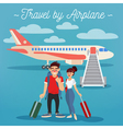 Airplane Travel Active People Girl with Baggage vector image vector image