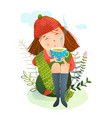 autumn girl and warm cup tea vector image vector image