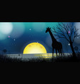 background scene with silhouette giraffe at night vector image vector image
