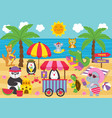 basic rgbanimals relax on beach vector image vector image