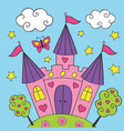 beautiful fairy pink castle vector image vector image