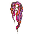 beautiful portrait of a woman with long wavy hair vector image