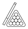 billiards thin line icon pool cue and balls vector image