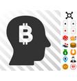 bitcoin mind icon with bonus vector image vector image