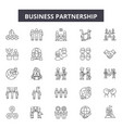 business partnership line icons signs set vector image vector image