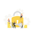businessman hold a key from a large padlock vector image vector image