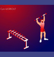 cartoon athlete training in gym with dumbbell vector image vector image