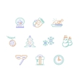 Christmas accessories color line icons set vector image vector image