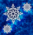 Christmas set snowflakes on dark blue grunge vector image vector image