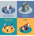 Cinema Movie 4 Isometric Icons Square vector image vector image