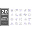 coronavirus line icon set protection vector image