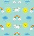 cute cartoon sun cloud with rain rainbow unicorn vector image vector image