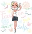 cute girl makes selfie vector image