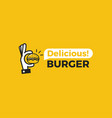 delicious burger hand with a small hamburger vector image vector image