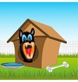 Dog in kennel vector image vector image