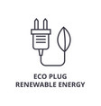 eco plug renewable energy line icon outline sign vector image vector image