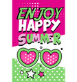 enjoy happy summer banner bright retro pop art vector image vector image