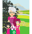 family recycling bottles vector image