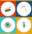flat icon garden set of cutter lawn mower pump vector image vector image