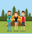 friends with smartphones in the camping zone vector image