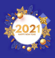 happy new 2021 year design template with circle vector image