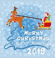 happy new year poster with flat santa claus and vector image
