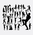 happy people shopping using microphone silhouette vector image
