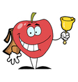 Happy Red School Apple Ringing A Bell vector image vector image