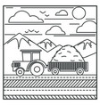 harvester or farm tractor carrying hay in carriage vector image vector image